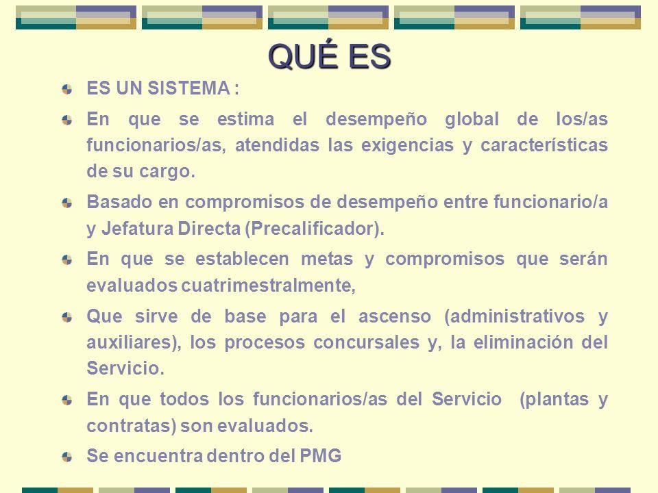 QUÉ ES ES UN SISTEMA : En que se estima el desempeño global de los/as funcionarios/as, atendidas las exigencias y características de su cargo.