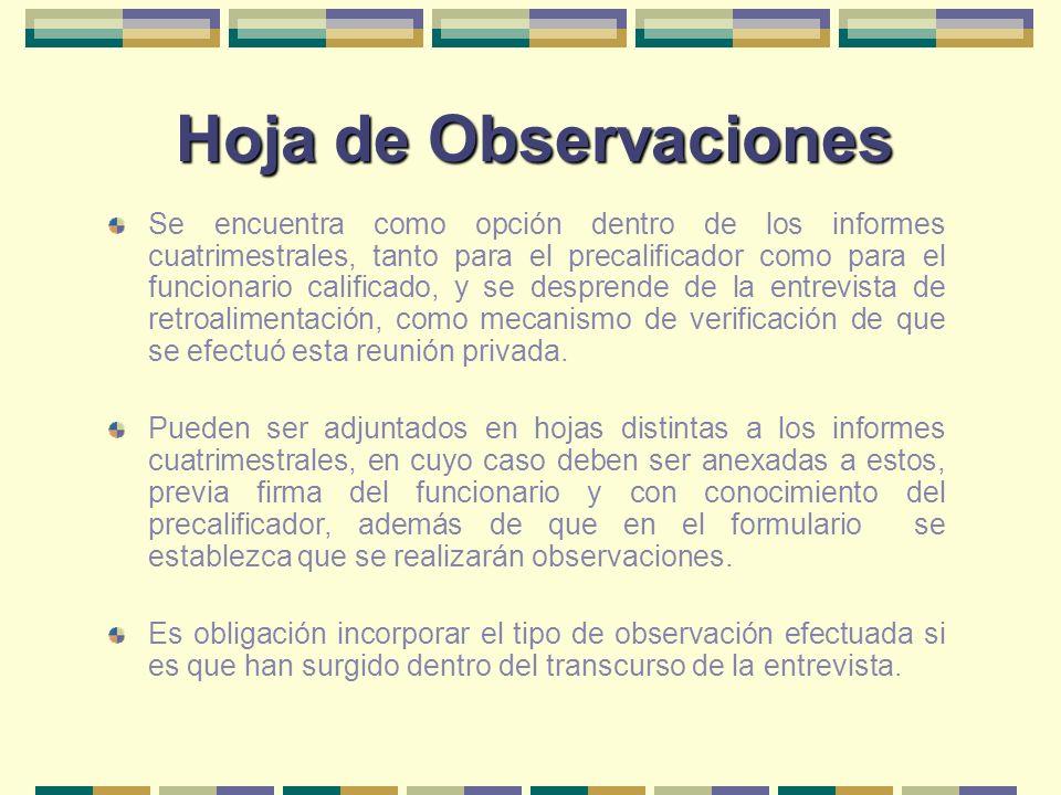 Hoja de Observaciones