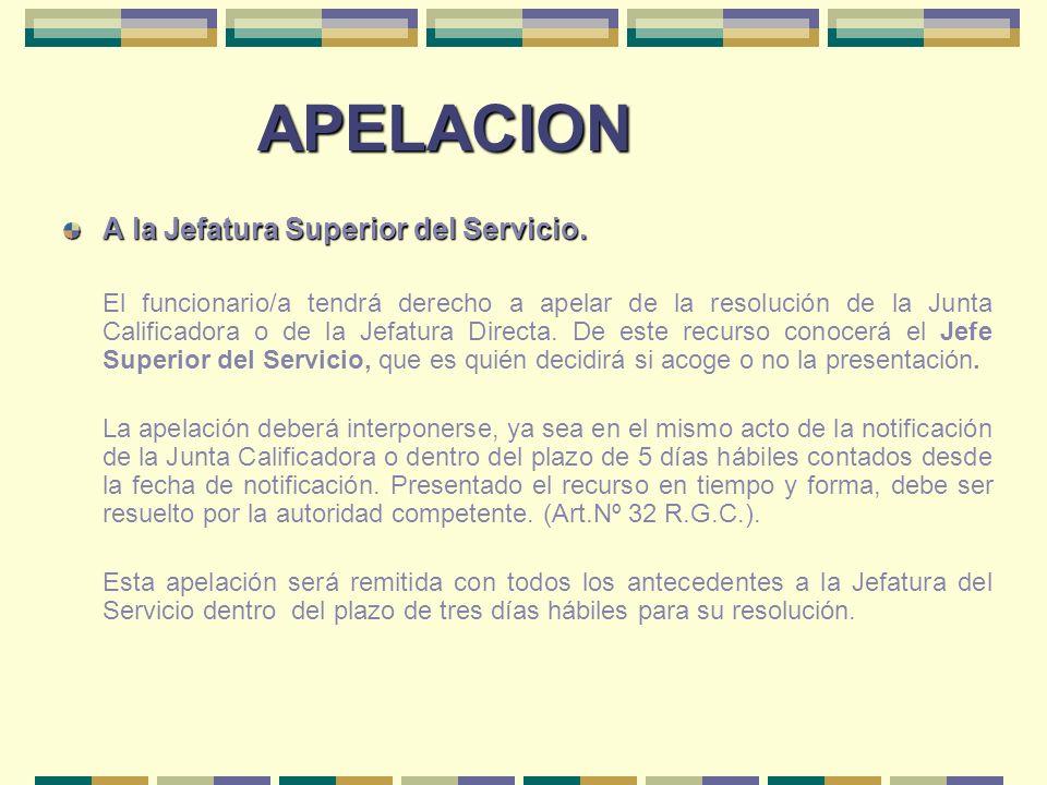 APELACION A la Jefatura Superior del Servicio.