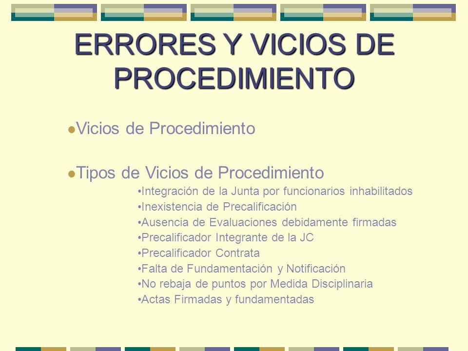 ERRORES Y VICIOS DE PROCEDIMIENTO