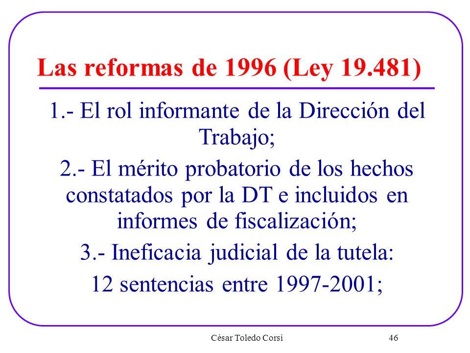 Las reformas de 1996 (Ley 19.481) 1.- El rol informante de la Dirección del Trabajo;