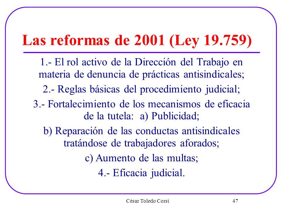 Las reformas de 2001 (Ley 19.759) 1.- El rol activo de la Dirección del Trabajo en materia de denuncia de prácticas antisindicales;