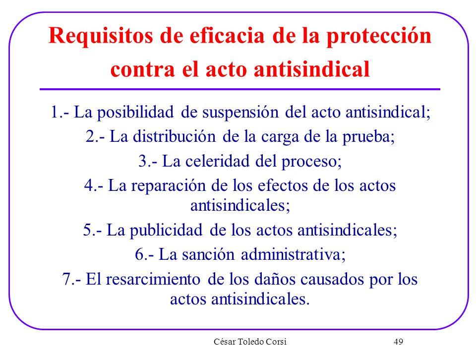 Requisitos de eficacia de la protección contra el acto antisindical