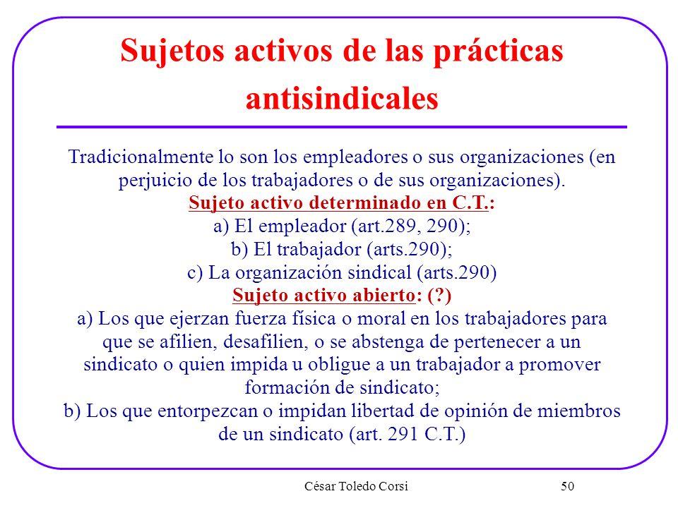 Sujetos activos de las prácticas antisindicales