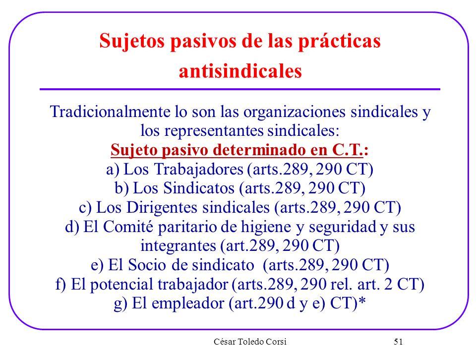 Sujetos pasivos de las prácticas antisindicales