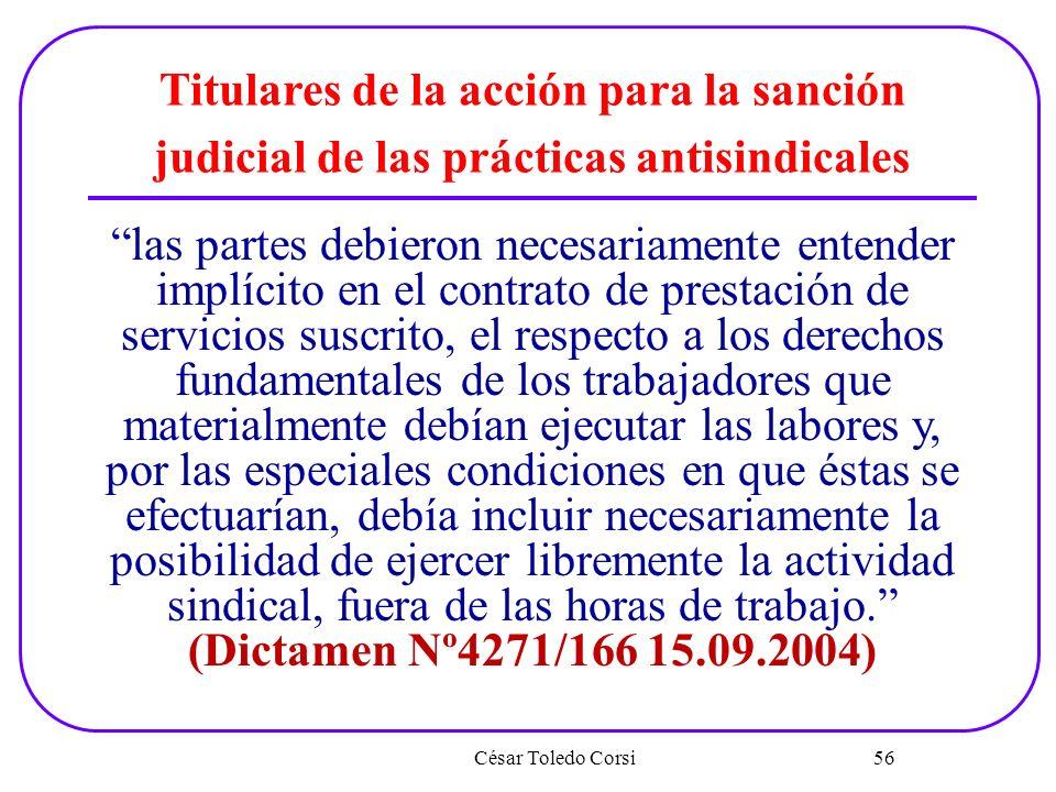 Titulares de la acción para la sanción judicial de las prácticas antisindicales
