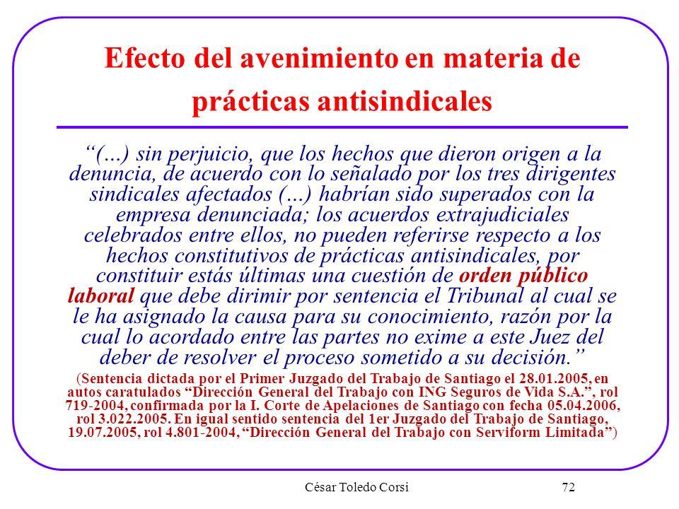 Efecto del avenimiento en materia de prácticas antisindicales