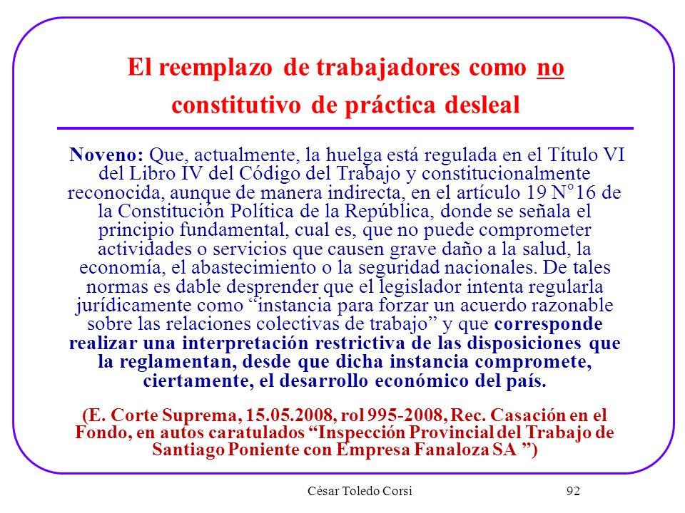 El reemplazo de trabajadores como no constitutivo de práctica desleal