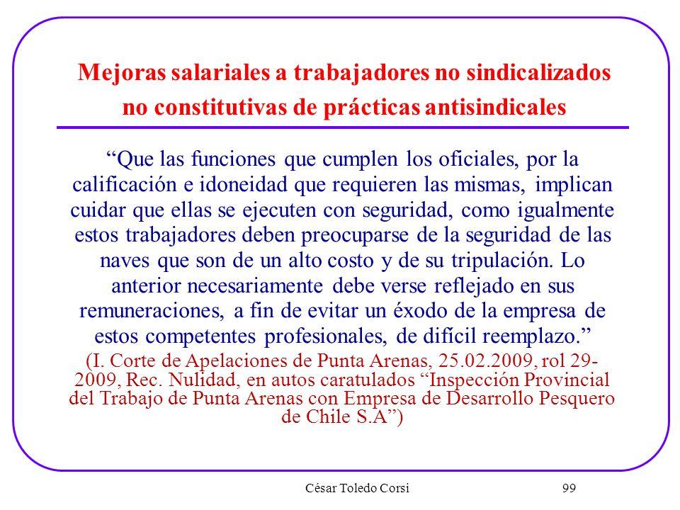 Mejoras salariales a trabajadores no sindicalizados no constitutivas de prácticas antisindicales