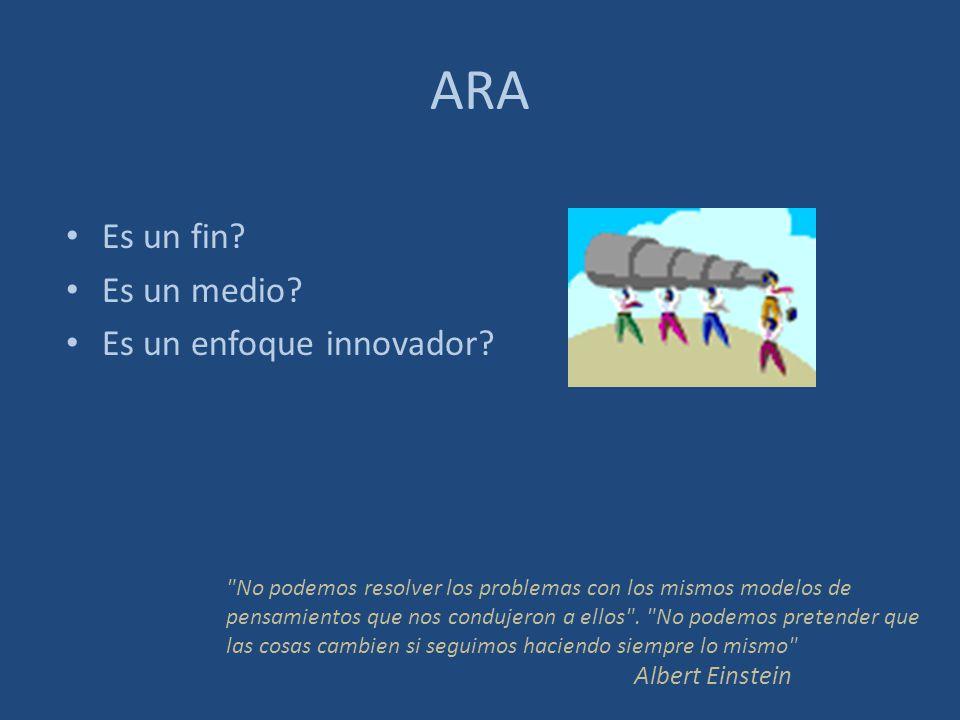 ARA Es un fin Es un medio Es un enfoque innovador Albert Einstein