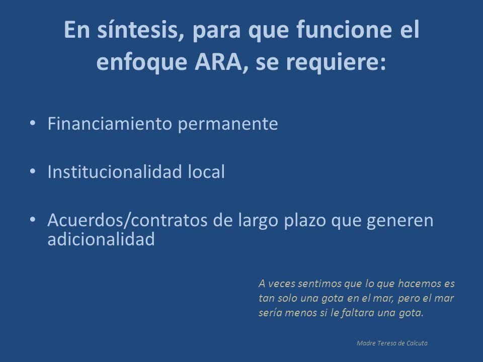 En síntesis, para que funcione el enfoque ARA, se requiere: