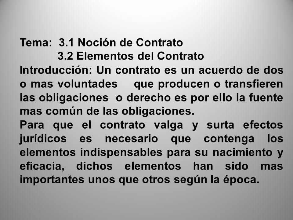 Tema: 3.1 Noción de Contrato