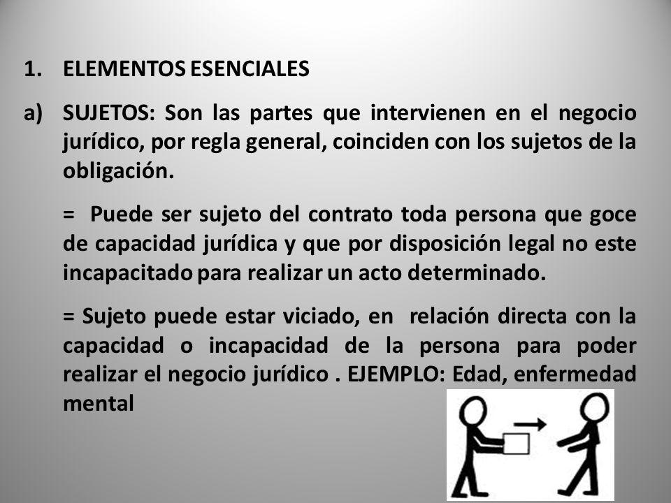 ELEMENTOS ESENCIALES SUJETOS: Son las partes que intervienen en el negocio jurídico, por regla general, coinciden con los sujetos de la obligación.