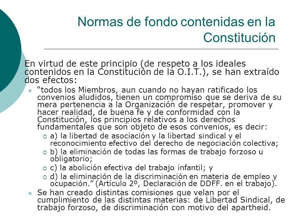 Normas de fondo contenidas en la Constitución