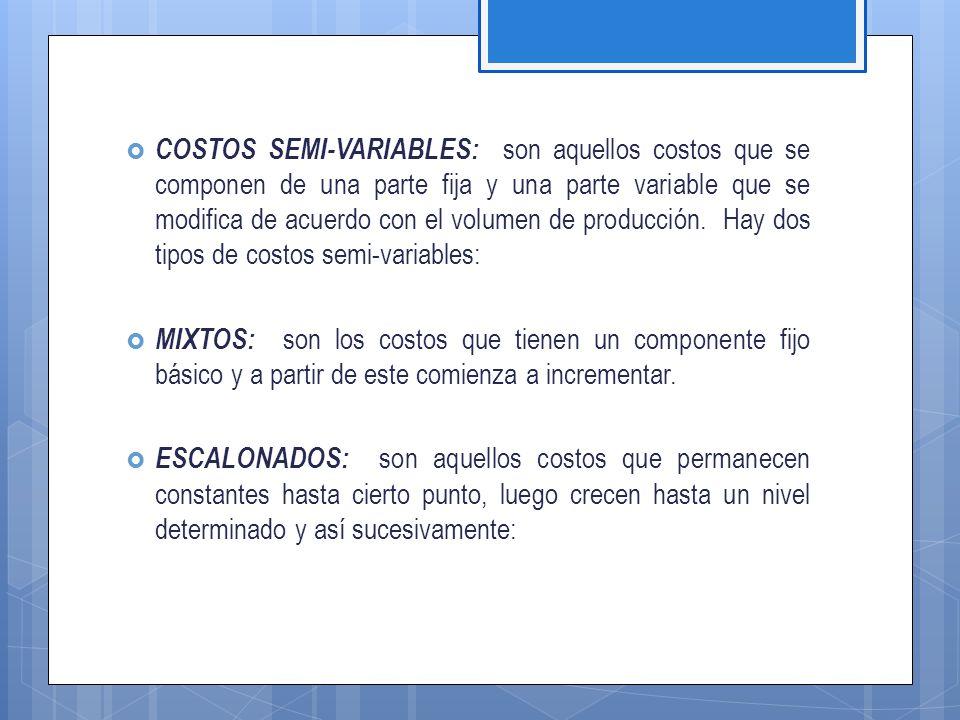 COSTOS SEMI-VARIABLES: son aquellos costos que se componen de una parte fija y una parte variable que se modifica de acuerdo con el volumen de producción. Hay dos tipos de costos semi-variables: