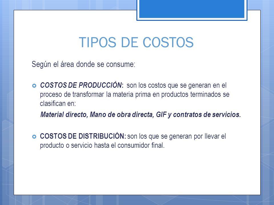 TIPOS DE COSTOS Según el área donde se consume: