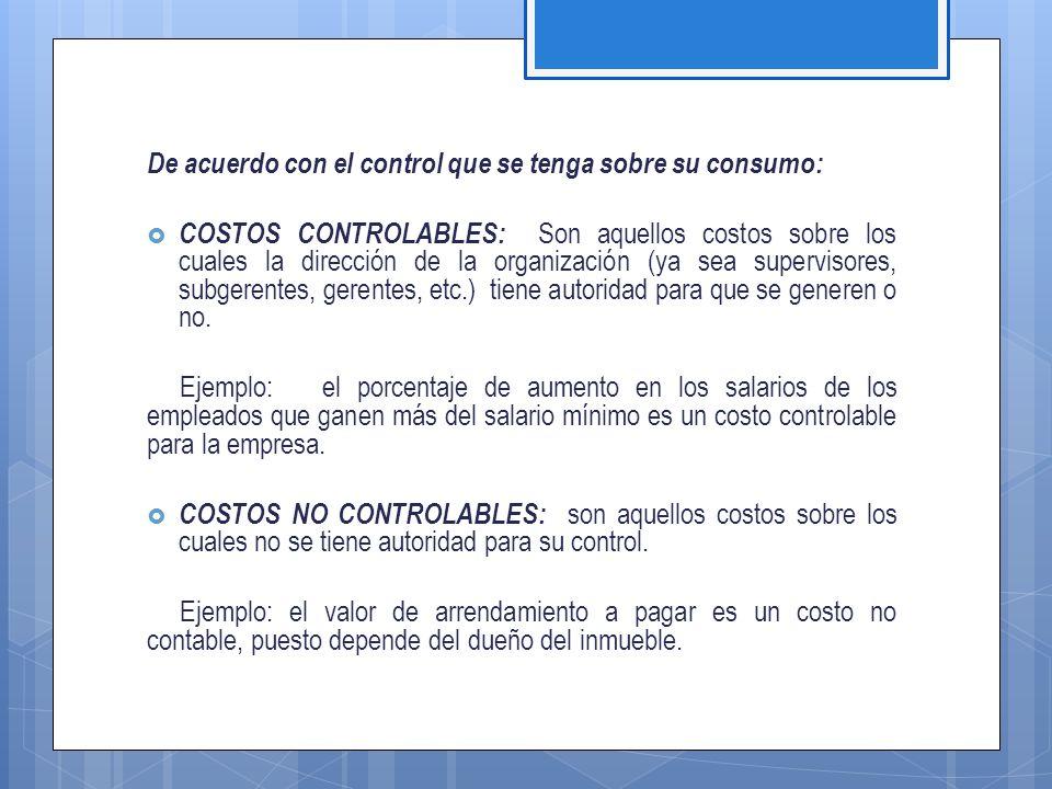 De acuerdo con el control que se tenga sobre su consumo: