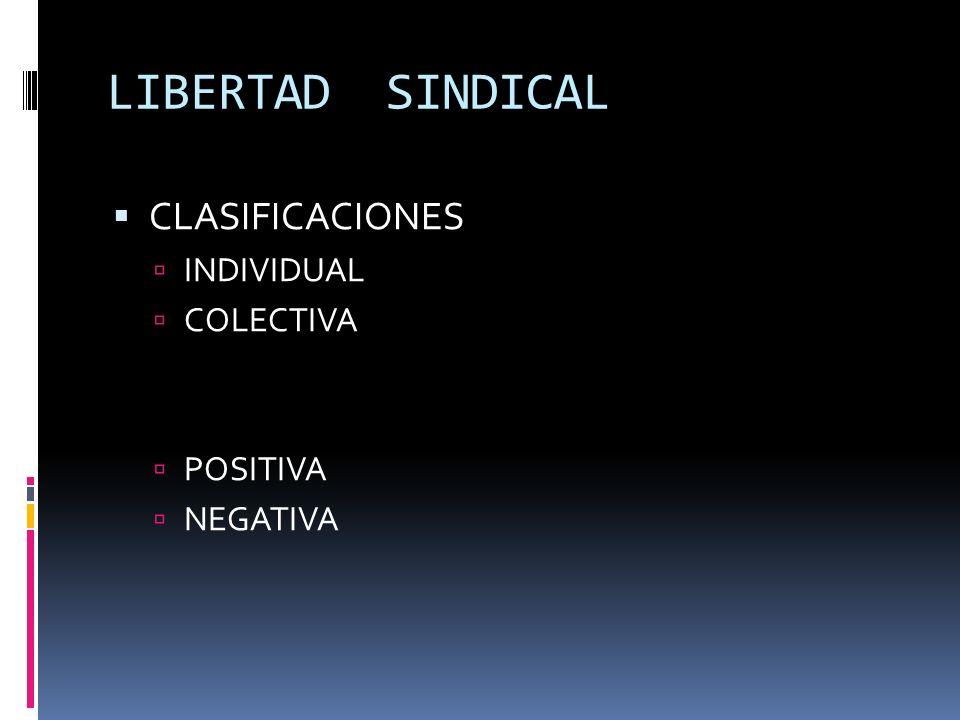 LIBERTAD SINDICAL CLASIFICACIONES INDIVIDUAL COLECTIVA POSITIVA