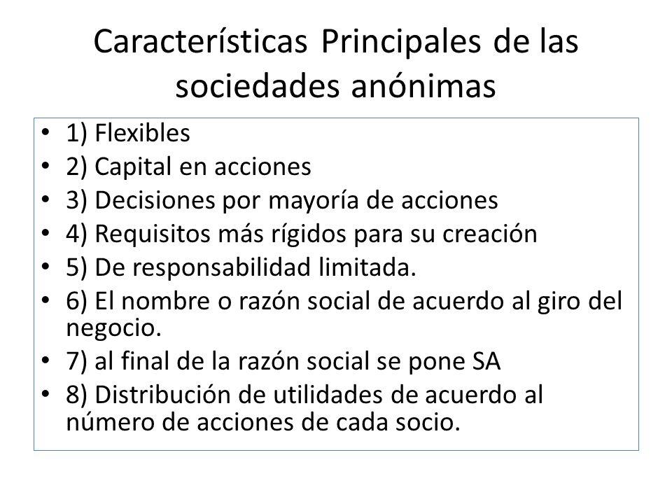 Características Principales de las sociedades anónimas