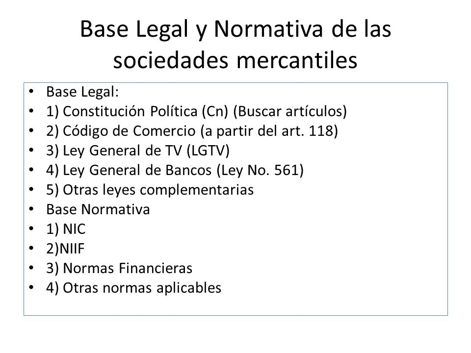 Base Legal y Normativa de las sociedades mercantiles