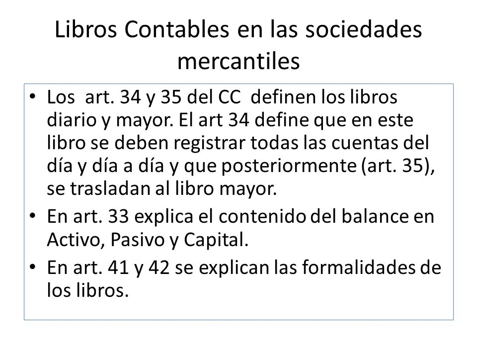 Libros Contables en las sociedades mercantiles