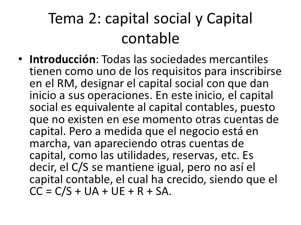 Tema 2: capital social y Capital contable