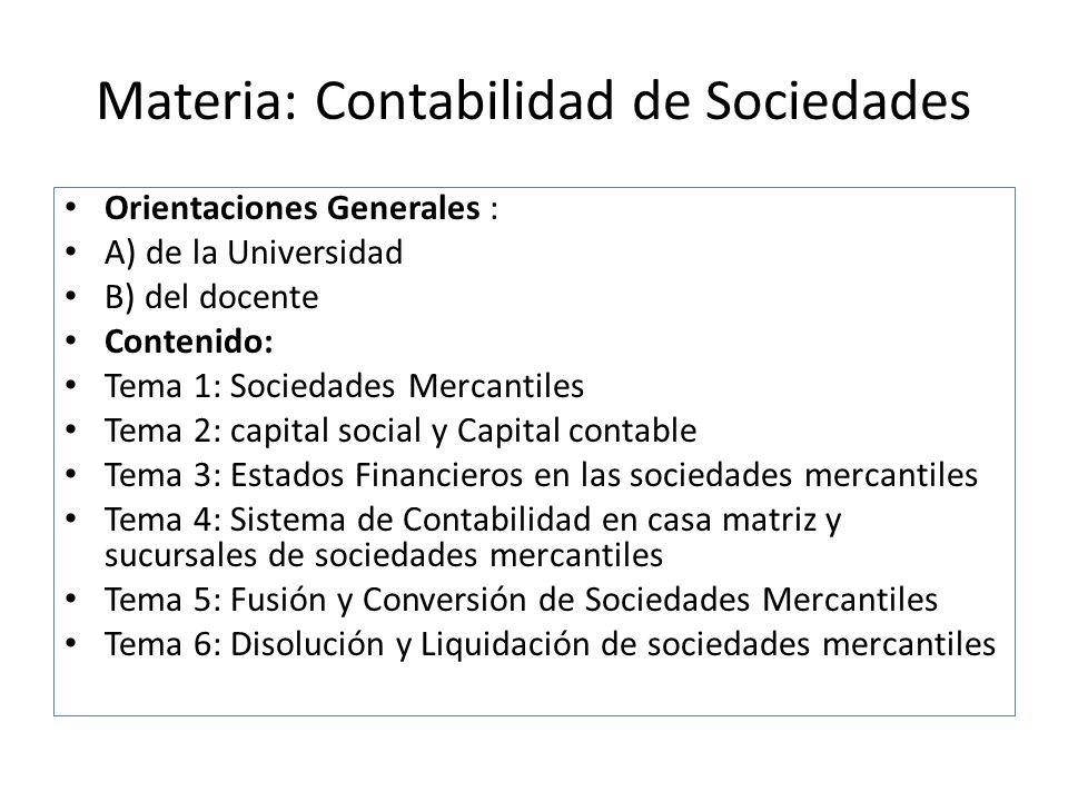 Materia: Contabilidad de Sociedades