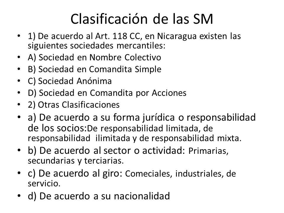Clasificación de las SM
