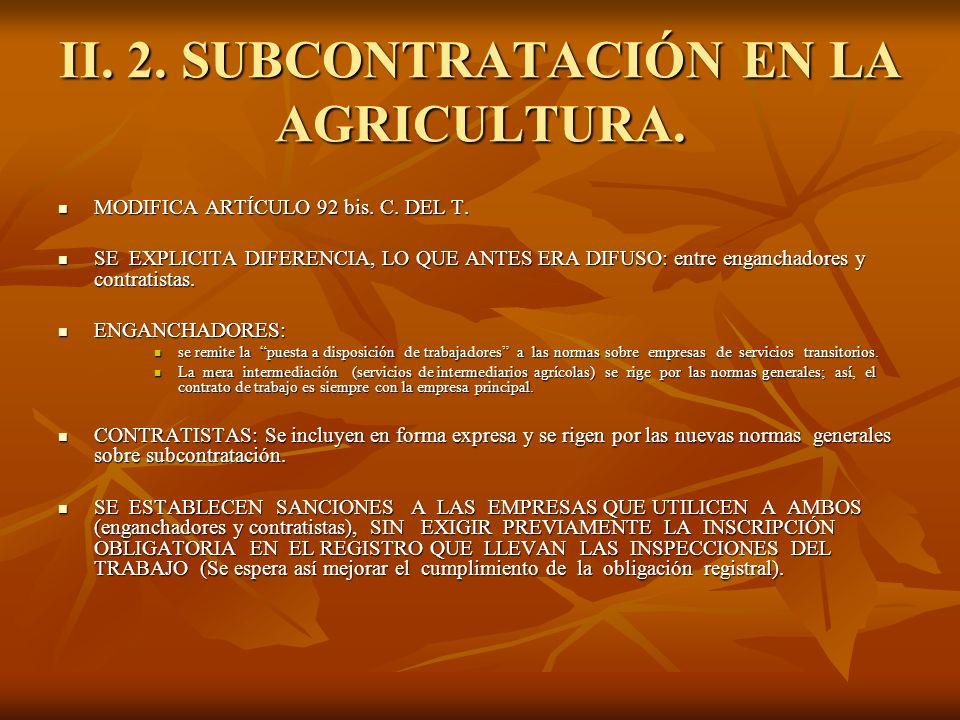 II. 2. SUBCONTRATACIÓN EN LA AGRICULTURA.