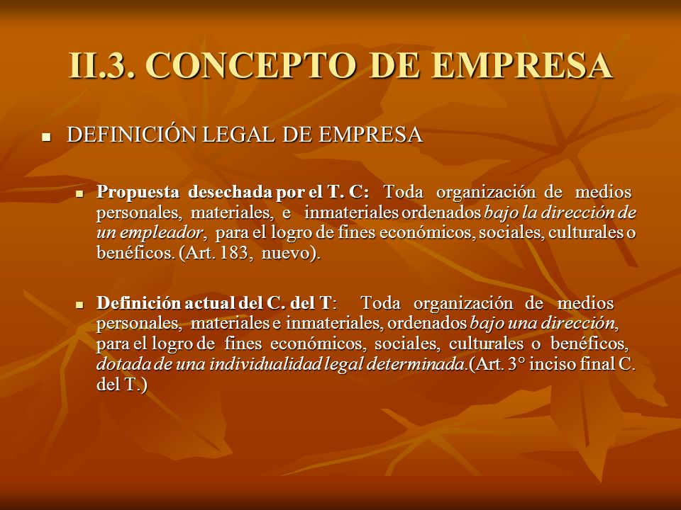 II.3. CONCEPTO DE EMPRESA DEFINICIÓN LEGAL DE EMPRESA