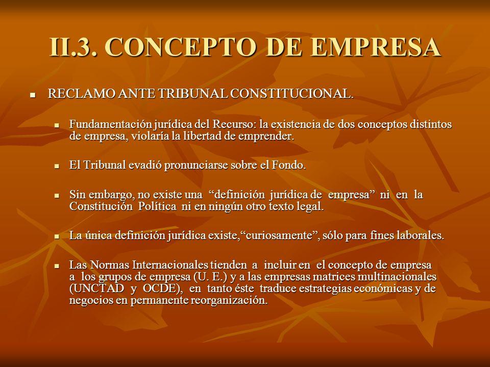 II.3. CONCEPTO DE EMPRESA RECLAMO ANTE TRIBUNAL CONSTITUCIONAL.