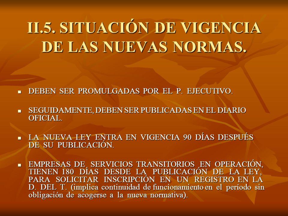 II.5. SITUACIÓN DE VIGENCIA DE LAS NUEVAS NORMAS.