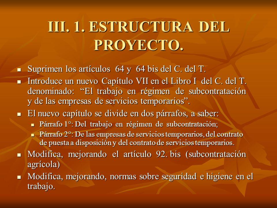 III. 1. ESTRUCTURA DEL PROYECTO.