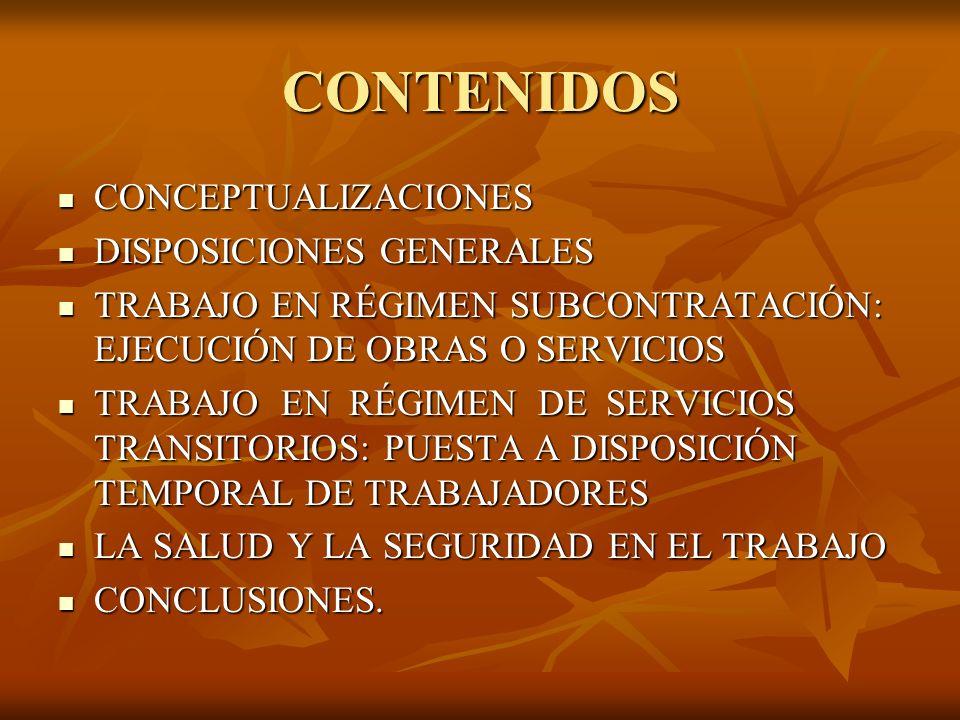 CONTENIDOS CONCEPTUALIZACIONES DISPOSICIONES GENERALES