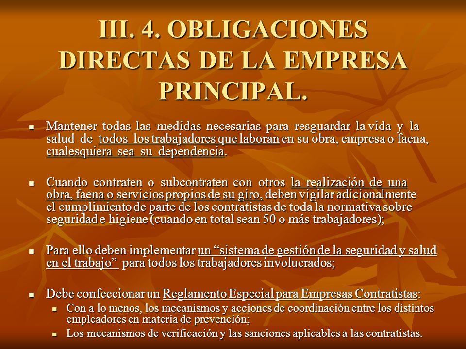III. 4. OBLIGACIONES DIRECTAS DE LA EMPRESA PRINCIPAL.