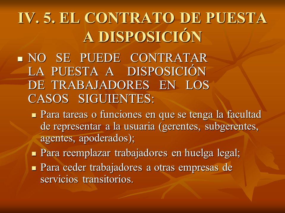 IV. 5. EL CONTRATO DE PUESTA A DISPOSICIÓN