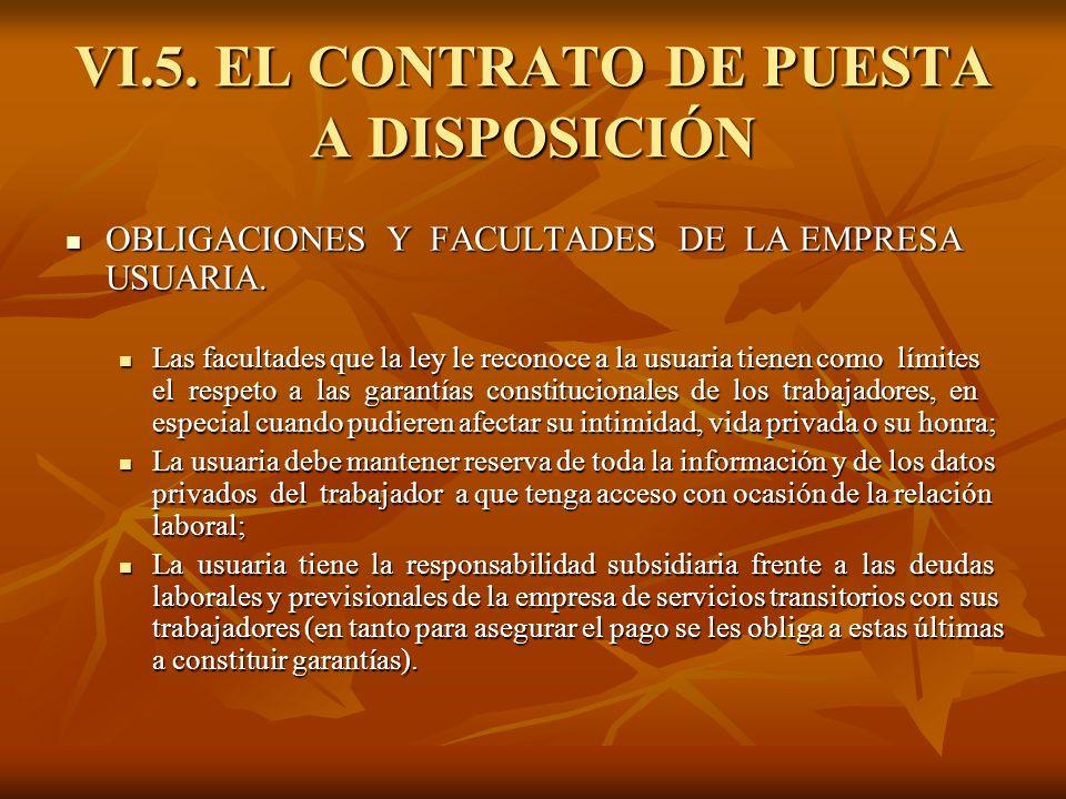 VI.5. EL CONTRATO DE PUESTA A DISPOSICIÓN