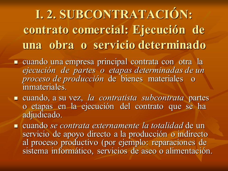 I. 2. SUBCONTRATACIÓN: contrato comercial: Ejecución de una obra o servicio determinado