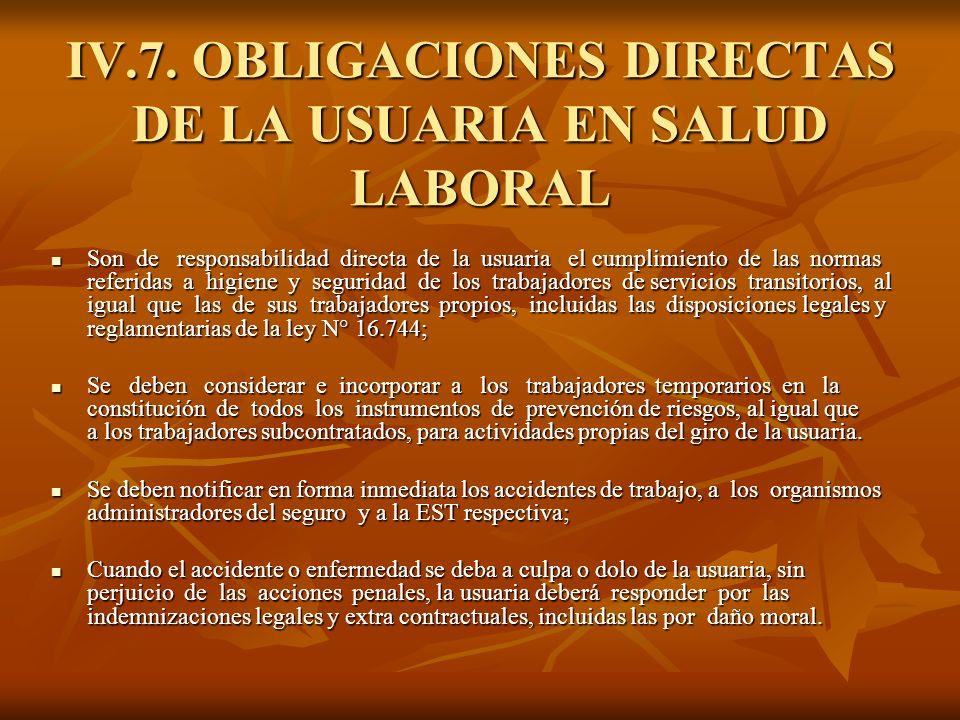 IV.7. OBLIGACIONES DIRECTAS DE LA USUARIA EN SALUD LABORAL