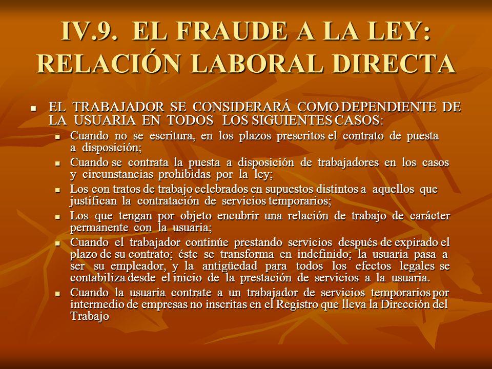 IV.9. EL FRAUDE A LA LEY: RELACIÓN LABORAL DIRECTA