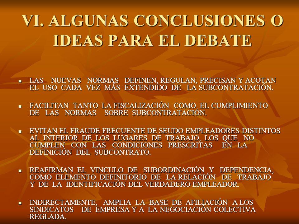 VI. ALGUNAS CONCLUSIONES O IDEAS PARA EL DEBATE