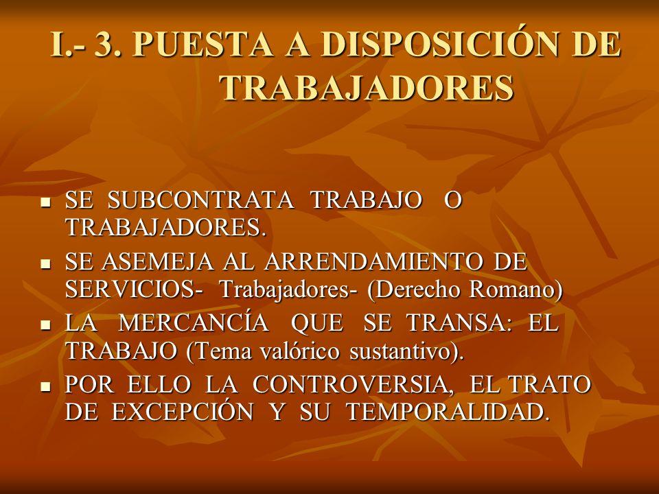I.- 3. PUESTA A DISPOSICIÓN DE TRABAJADORES