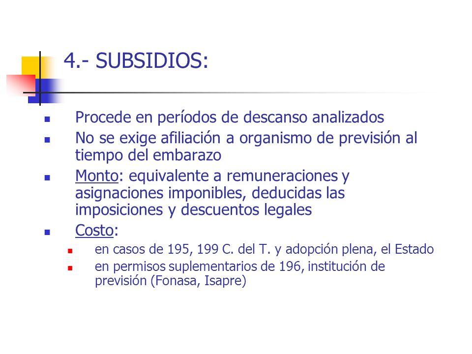 4.- SUBSIDIOS: Procede en períodos de descanso analizados