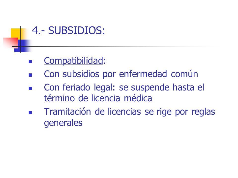 4.- SUBSIDIOS: Compatibilidad: Con subsidios por enfermedad común