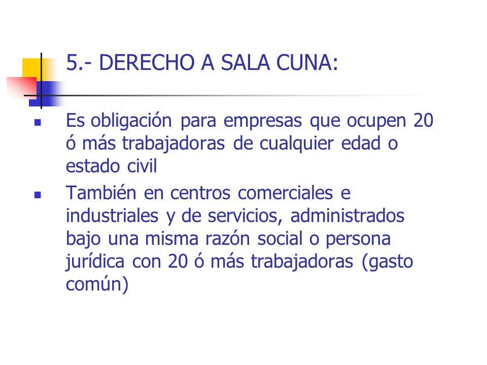 5.- DERECHO A SALA CUNA: Es obligación para empresas que ocupen 20 ó más trabajadoras de cualquier edad o estado civil.