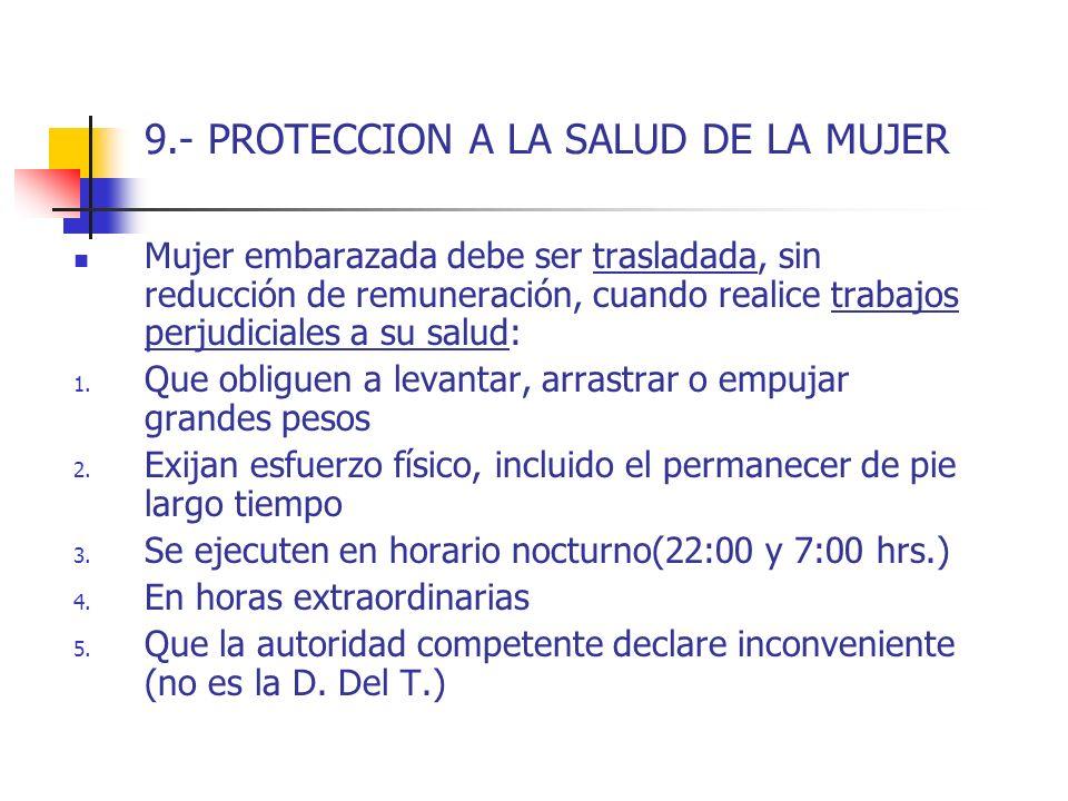9.- PROTECCION A LA SALUD DE LA MUJER