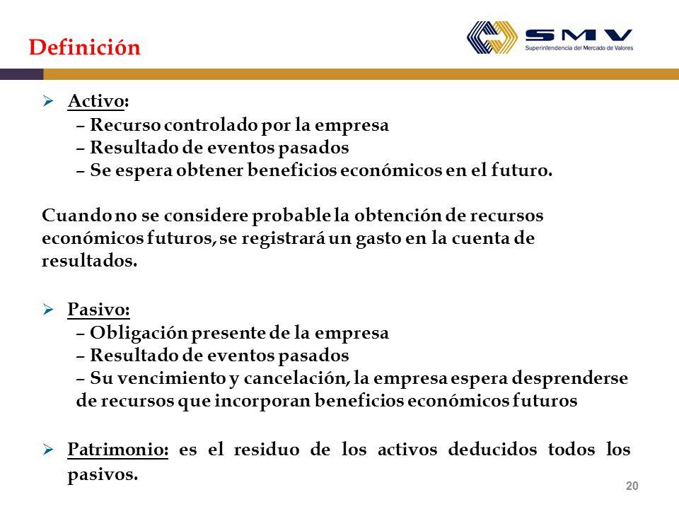 Definición Activo: – Recurso controlado por la empresa