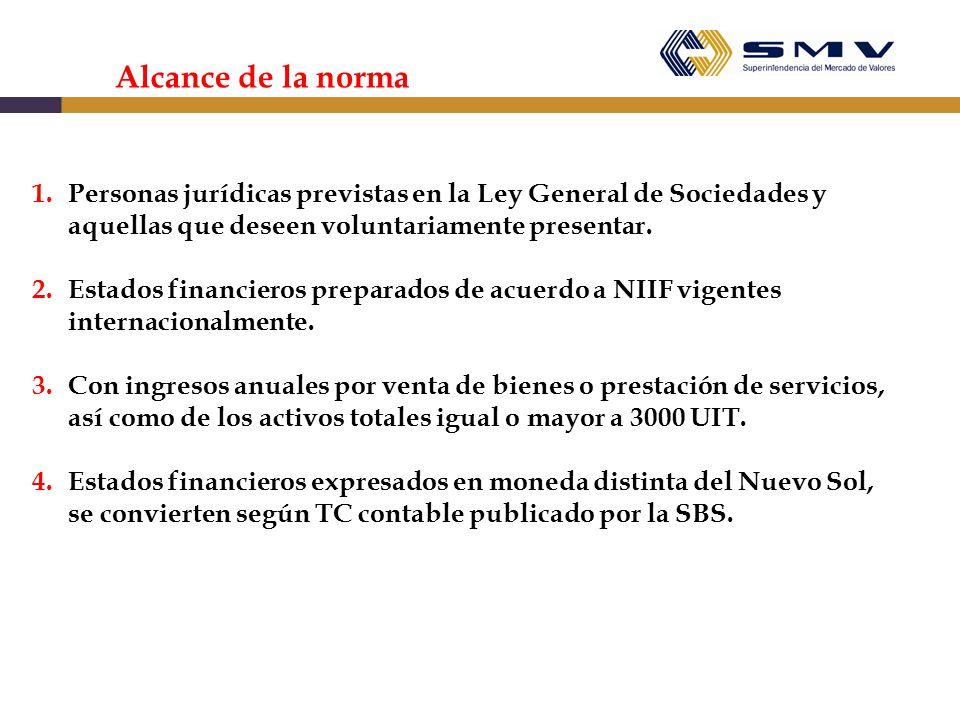Alcance de la norma Personas jurídicas previstas en la Ley General de Sociedades y aquellas que deseen voluntariamente presentar.
