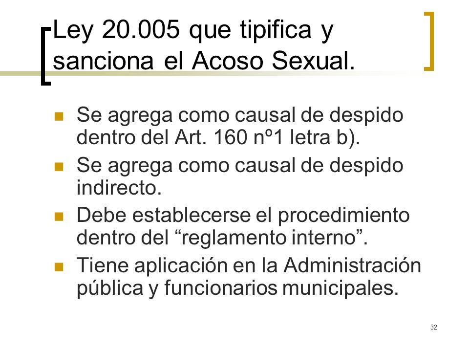 Ley 20.005 que tipifica y sanciona el Acoso Sexual.
