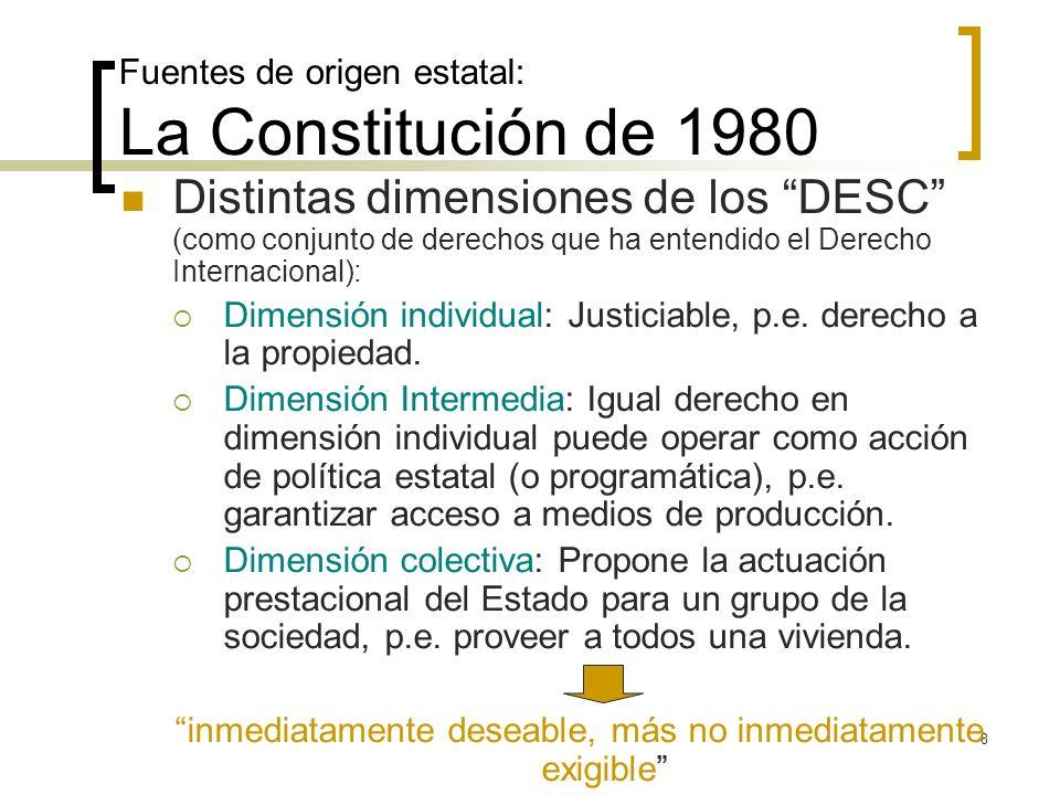 Fuentes de origen estatal: La Constitución de 1980